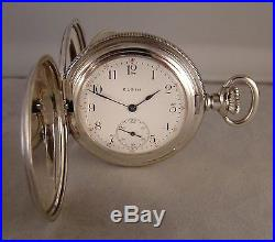 119 Years Old Elgin Coin Silver Hunter Case Great Looking Pocket Watch