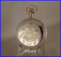 120 Years Old Elgin Multicolor Sterling Silver Hunter Case Great Pocket Watch