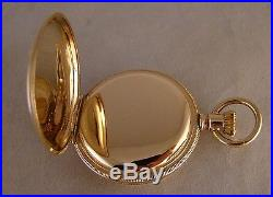 123 YEARS OLD HAMPDEN 14k GOLD FILLED HUNTER CASE GREAT LOOKING POCKET WATCH