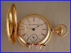 126 YEARS OLD ELGIN G. M. WHEELER 14k GOLD FILLED HUNTER CASE 18s POCKET WATCH