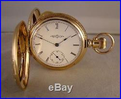 127 YEARS OLD ILLINOIS 14k GOLD FILLED HUNTER CASE GREAT LOOKING POCKET WATCH