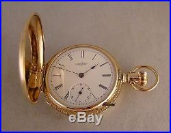 130 YEARS OLD ELGIN 14k GOLD FILLED HUNTER CASE GREAT LOOKING POCKET WATCH