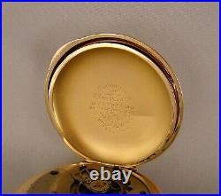 134 YEARS OLD ROCKFORD 14k GOLD FILLED HUNTER CASE FANCY DIAL 18s POCKET WATCH