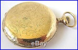 14K Goldfill BURLINGTON Pocket Watch, Hunter Case, 16S, 21J, DoubleRoller, Adj2, RUN