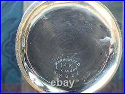 14K SOLID GOLD ELGIN ANTIQUE HUNTER CASE POCKET WATCH 10K Chain ROYAL ENAMEL FOB