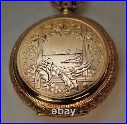 14k Gold 18 Size Illinois Gr 3 AM HILL New Orleans PL Hunter Case Pocket Watch