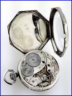 14k Solid White Gold Elgin Octagon Pocketwatch Swingout Case Octagonal