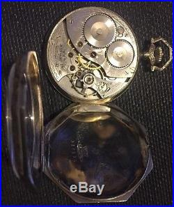 14k Solid White Gold Waltham Octagon Pocketwatch Swingout Case1920s