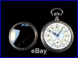 16s 17Jewel Elgin 3finger Bridge Fancy Dial RareFrainer Silver Case Near Mint