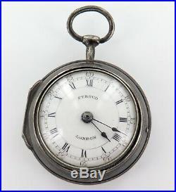 1744 English Sterling Silver Verge Fusee Pair Cased Pocket Watch. Stroud London