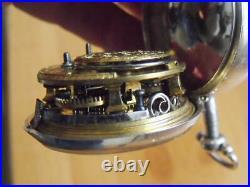 1768 Silver Pair Case Verge Pocket Watch't Whiskin, London' Sq Pllr Working