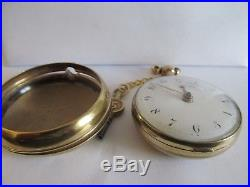 1800/1810 gilt cased pair cased pocket watch in very good condition and working