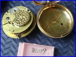 1800 VERGE Tortoiseshell Pair Case Pocket Watch. W Flagg London. Working Antique