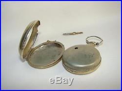 1800's PRIOR LONDON Verge Fusee Fancy Dial Pocket Watch Original Pair Case Runs