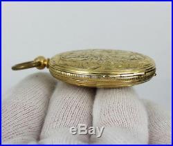1800s Dupin Genève 18K Gold Key Wind Fancy Hunter Case Pocket Watch