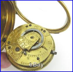 1800s ENGLISH J BOLTON, LIVERPOOL FUSEE POCKET WATCH +EXTRAVAGANT CASE & DIAL