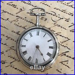 1807 London Solid Silver Pair Case Verge Pocket Watch By Surridge, Bridgewater