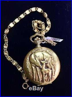 1880s Hebdomas 8-Day Repousse Case Mechanical Hunter Case Pocket Watch withChain