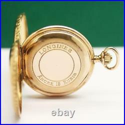 1885's LONGINES 18K SOLID GOLD ENAMEL CATS DIAMOND CASE POCKET WATCH