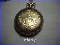 1899 Elgin Size 6 Pocket Watch Keystone J Boss Grade 14K GF Full Hunter Case