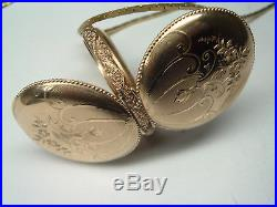1899 GORGEOUS highly designed WALTHAM gold filled hunter case pocket watch CHAIN