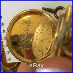 18K Gold Fred Nicoud Mens Key Wind Double Hunter Case Pocket Watch WORKING