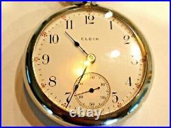 18SZ Elgin Pocket Watch in Nice Display Case-15Jewel, Serviced, +Fob -Keeps Time