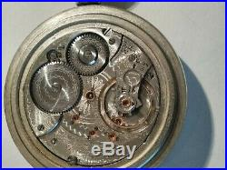 18S. Waltham (1910) 21 jewels adj. High grade 845 railroad silveroid train case