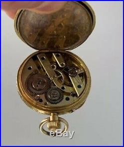 18 Ct Solid Gold Pocket Fob Watch Engraved Case Antique