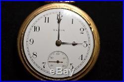 18s Elgin 21j Father Time Railroad Pocket Watch, Locomotive Engraved Case
