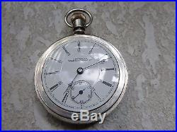 18s Waltham 17j pocket watch in Nevada coin silver case Gold Inlaid Lumberjack