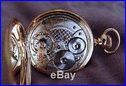 18sz, 21J Waltham Vanguard Heavy 14K Gold Hunter Case Pocket Watch! Outstanding