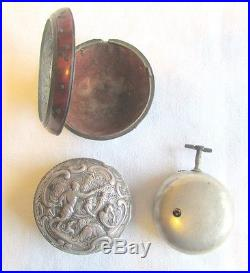 18th C Thomas Brown Triple Sterling Silver & Tortoise Finish Case Pocket Watch