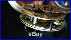 18th Century Fusee Pocket Watch. Fancy 16k Gold Enamel Case, Vtg. Key RUNS WELL