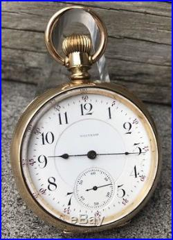 1900 WALTHAM 21j Vanguard Model 1892 POCKET WATCH 18s Newport Gold Case Running