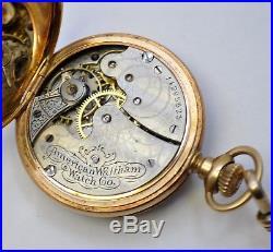 1902 Waltham Grade Seaside 0s Solid 14K Yellow Gold 7j Hunter Case Pocket Watch