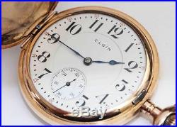 1904 Antique & Ornate Elgin Hunting Case 16 size Pocket Watch with 3 Finger Bridge