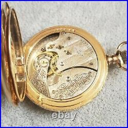 1904 Waltham Seaside Antique Pocket Watch, 6s Hunting Case 14KGF, Model 1890 15J