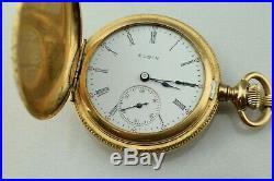 1905 Gold Filled 25Y J. Boss Very Ornate Hunting Case Elgin 0s 7j Pocket Watch