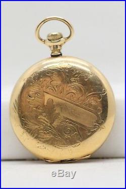 1910 Elgin 12 Size Antique Pocket watch Hand engraved GF Hunting Case LE055
