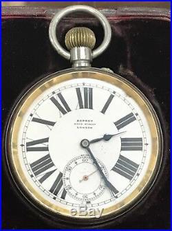 1915 Sterling Silver & Tortoise Shell Case Asprey London Goliath Pocket Watch