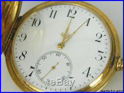 1916 ZENITH 18K Yellow Gold Hunter Case Pocket Watch with 18K Signed Fob Chain