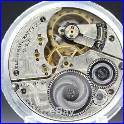 1920 ELGIN 17 Jewel Mechanical Pocket Watch Large 16s Fancy Silver Color Case