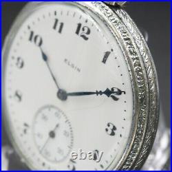 1922 ELGIN Mechanical Pocket Watch 12s Case Grade 303 7 Jewel Silver Color USA