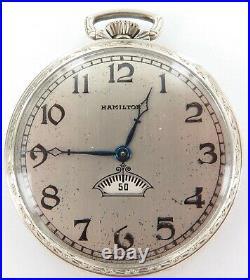 1923 HAMILTON 912 12S 17J DIGITAL SECONDS POCKET WATCH With 14K G. F. CASE + BOX