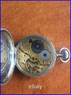 1929 Swiss made Sterling Silver Pocket Watch 51589 by Visible Dennison case