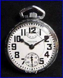 1929 Waltham Vanguard Up/Down 16S 23j OF Locomotive Case RR Pocketwatch Running