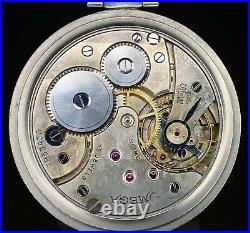1933 Slim Art Deco Omega Pocket Watch, 18S Stainless Steel Case, 37.5L-15