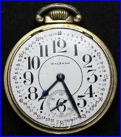 1937 Waltham Grade 1609 16s 9j Pocket Watch with OF Case Parts/Repair