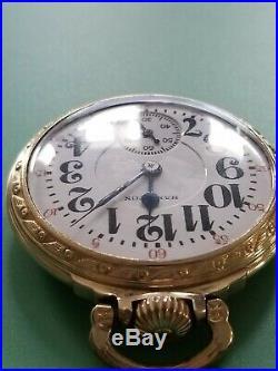 1938 HAMILTON 992E Elinvar 16s 21j Mod 2 Railroad Pocket Watch GF Case #11 Runs
